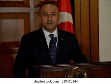 Ankara, Turkey. October 5th 2016 - Turkish Foreign Minister Mevlut Cavusoglu holds a press conference