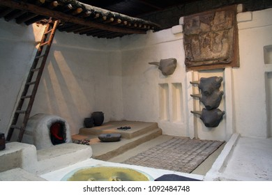 At Ankara, Turkey , On  August/03/2010 - Reconstruction of Catal Huyuk/ Catalhoyuk sanctuary,  Including Bull heads from7th millennium b.C.,   museum of Anatolian civilization