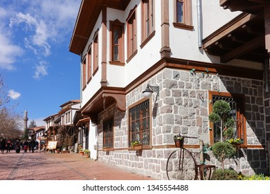 Ankara, Turkey - Renovated Ottoman style houses and street in Hamamonu District