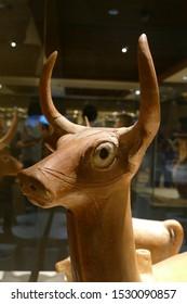 ANKARA, TURKEY - SEP 10,  2019 -  Hittite Deer sculptures,  from  Alaca, Corum, 1400 BCE Museum of Anatolian Civilization, Ankara, Turkey