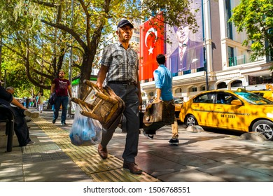 Ankara / Turkey - September 11 2019 :  	Shoeshine old man on the street. Yuksel Street is a popular tourist destination in Ankara