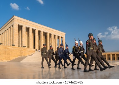 Ankara, Turkey - September 15, 2015: Changing of the Guard ceremony in Mausoleum of Ataturk -Anitkabir in Ankara Turkey.