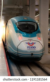 Ankara, Turkey - September 20, 2018: High speed train of TCDD at the new terminal of Ankara Railway Station. 'High speed train' means 'yüksek hızlı tren - YHT' in Turkish language.