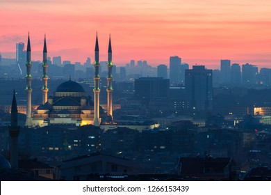 Ankara, Turkey - A sunset scene from the Capital City of Turkey with Kocatepe Mosque centered