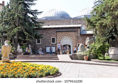 ANKARA, TURKEY-AUG. 5, 2011:  Visitors gather outside the Museum of Anatolian Civilizations which houses antiquities from ancient civilizations which once lived in present day Turkey.