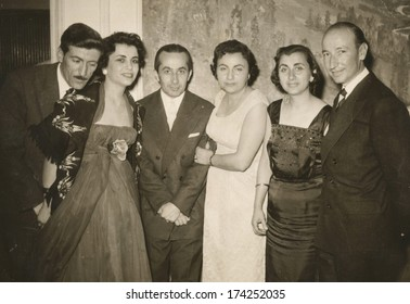 ANKARA, TURKEY-CIRCA 1955 - Some friends with husbands and wifes posing to camera. Circa 1950's