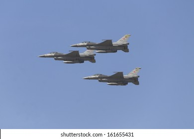 ANKARA, TURKEY-OCT 29 : Turkish F16 military airplane October 29th Republic Day was celebrated with an official ceremony and military parades at Hipodrom, Ankara on October 29, 2013 in Ankara, Turkey