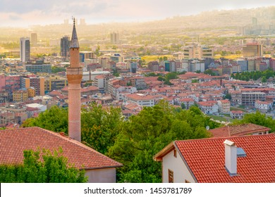 Ankara/Turkey - July 06 2019: Ankara landscape and Haci Bayram district view from Ankara Castle in blue sky background