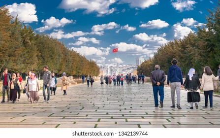 Ankara/Turkey - March 10 2019:  Visitors on the Road of Lions in Anitkabir