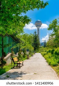 Ankara/Turkey- May 26 2019: Botanical Garden and Atakule in background in the spring