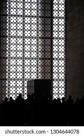 Ankara/Turkey - November 2014 Silhoutte of People at the Mausoleum of Atatürk