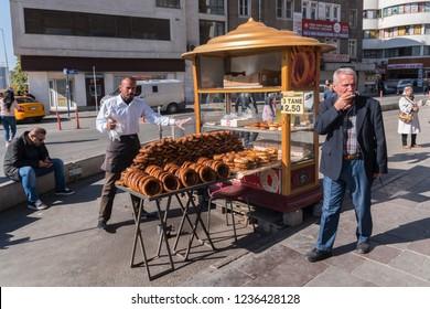 Ankara,Turkey - November 2,2018 - City life with traditional seller of Simit - turkish circular bread with sesame seeds