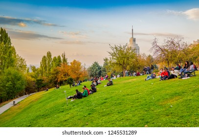 Ankara/Turkey - October 13 2018: Ankara Landscape with Segmenler Park in which people enjoy the day and Sheraton Hotel in background