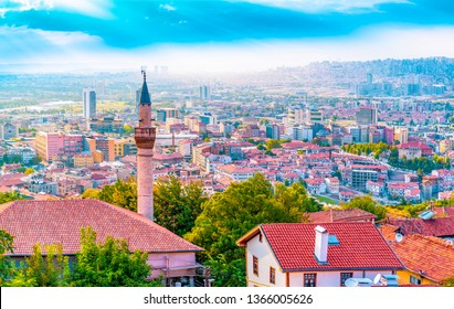 Ankara/Turkey - September 08 2018: Ankara landscape and Haci Bayram district view from Ankara Castle in blue sky background