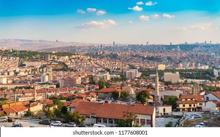 Ankara/Turkey - September 08 2018: Cityscape view from Ankara Castle