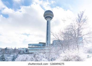 Ankara/Turkey-December 13 2018-Atakule tower and shopping mall in winter time and trees under snow in Botanic Park.