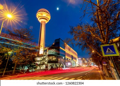 Ankara/Turkey-December 16 2018- Atakule tower with Atakule shopping mall in the evening