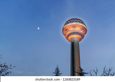 Ankara/Turkey-December 16 2018- Atakule tower in the evening