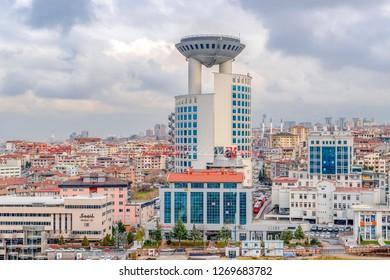 Ankara/Turkey-December 19 2018: Ankara landscape with Mevlana Bulvari (Konya Yolu) and MHP headquarter