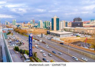 Ankara/Turkey-December 19 2018: Ankara landscape with Mevlana Bulvari (Konya Yolu) and Taurus Shopping Mall