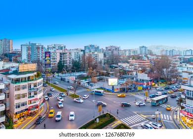 Ankara/Turkey-December 26 2018: City view (Intersection which cinnah, cankaya hosdere, Simon Bolivar streets- cadde, caddesi- meet) from Atakule Tower