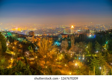 Ankara/Turkey-December 26 2018: City view(Botanical garden and Sheraton Hotel)  from Atakule Tower