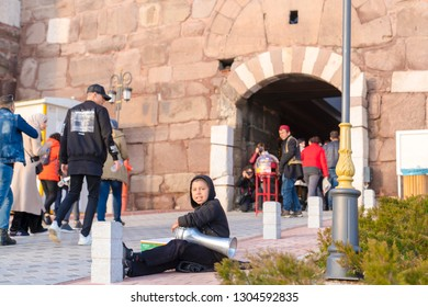 Ankara/Turkey-February 02 2019: Street musician performs in the entrance of Ankara Castle