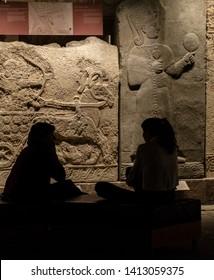 ANKARA/TURKEY-FEBRUARY 23 2019:Silhouette of Two Girls in Anatolian Civilization Museum