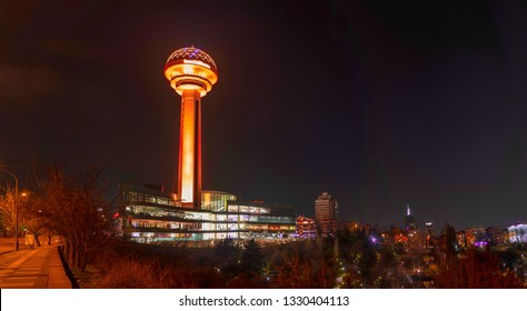 Ankara/Turkey-March 02 2019- Atakule tower with Atakule shopping mall in the evening