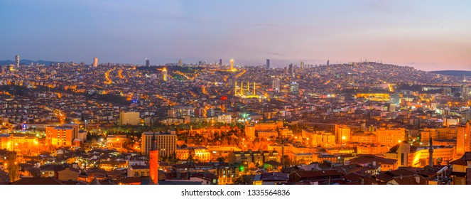 Ankara/Turkey-March 09 2019: Panoramic Ankara view with Kocatepe Mosque and Atakule