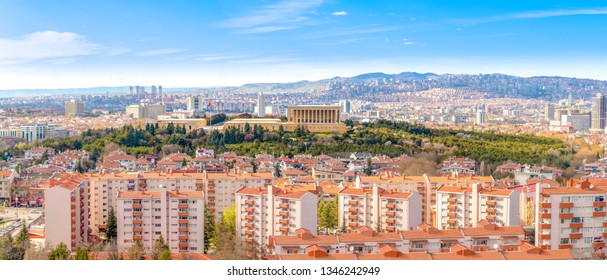 Ankara/Turkey-March 20 2019: Panoramic Ankara view with Anitkabir