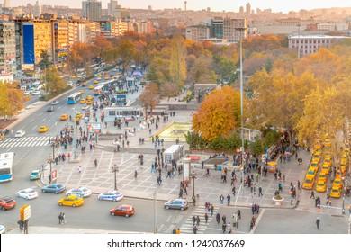 Ankara/Turkey-November 24 2018:  Guven park in autumn. Guven park located in Kizilay which is citycenter of Ankara