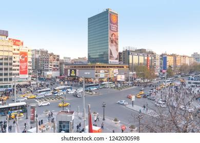 Ankara/Turkey-November 24 2018:  Kizilay square and skyscraper, Ankara capital of Turkey