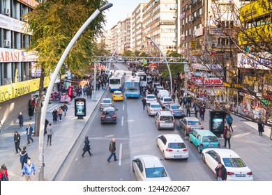 Ankara/Turkey-November 24 2018: Mesrutiyet street in a busy day and people and cars around there.