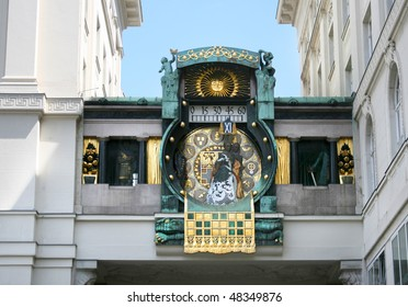 Anker clock on street in old Vienna, Austria