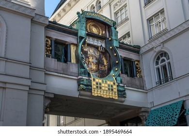 Ankeruhr (Anker clock), Famous Astronomical Art Nouveau Clock On Hoher Markt in Vienna Austria, Build By Franz Matsch In 1914