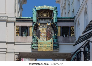 Ankeruhr (Anker clock), famous astronomical clock in Vienna, Austria built by Franz von Matsch in Vienna clock detail, timer, building