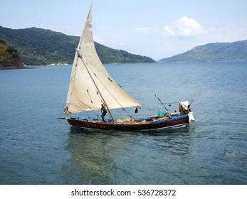 ANKIFY , MADAGASCAR, NOVEMBER 3.2016,  Ships in a picturesque bay Indian Ocean, Ankify, Madagascar,  November 3. 2016,