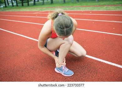 Ankle, accident, injury, woman, young adult, jogging, training