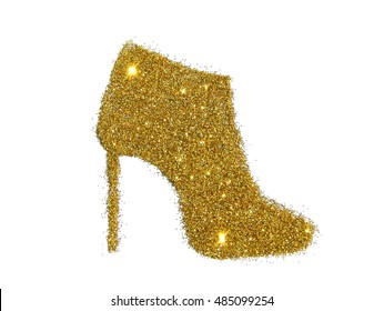 Ankle boot on high heel of golden glitter sparkle on white background