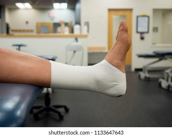 Ankle Tape Job on a varsity athlete in the clinic