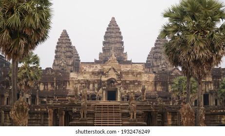 Ankor Wat Temple at sunrise near Siem Reap in Cambodia.