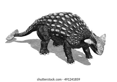 Ankylosaurus dinosaur, 3d render, special shaders were used to create the appearance of a pencil drawing.