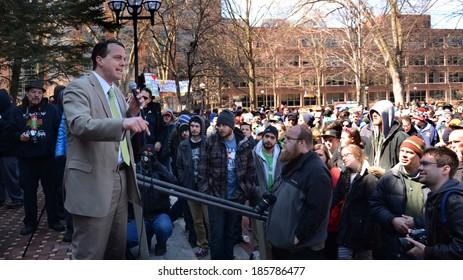 ANN ARBOR, MI - APRIL 5: Michigan State Representative Jeff Irwin (D-Ann Arbor) speaks at the 43rd annual Hash Bash rally in Ann Arbor, MI April 5, 2014.