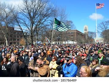 ANN ARBOR, MI - APRIL 5: A crowd attends the 43rd annual Hash Bash rally in Ann Arbor, MI April 5, 2014.
