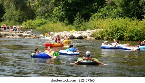 ANN ARBOR, MI - AUGUST 3: Kayakers enjoy the rapids at the Argo Cascades in Ann Arbor, MI on August 3, 2014.