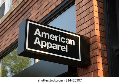 ANN ARBOR, MI - AUGUST 30: American Apparel, whose Ann Arbor store logo is shown on August 30, 2014, had its credit rating downgraded recently by Standard & Poor's.