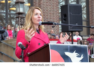 ANN ARBOR, MI - JAN 21:  Michigan State Representative Donna Lasinski addresses the Women's March in Ann Arbor on January 21, 2017.