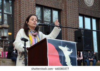 ANN ARBOR, MI - JAN 21:  UAW Vice-President Cindy Estrada addresses the Women's March in Ann Arbor on January 21, 2017.