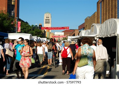 ANN ARBOR, MI - JULY 21: Crowds enjoy Ann Arbor State Street Area Art Fair July 21, 2010  in Ann Arbor, MI. With 325 artists, it is one of four art fairs taking place July 21-24, 2010.